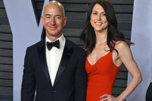 FILE - In this March 4, 2018 file photo, Jeff Bezos and wife MacKenzie Bezos arrive at the Vanity Fair Oscar Party in Beverly Hills, Calif.   Bezos says he and his wife, MacKenzie, have decided to divorce after 25 years of marriage.  Bezos, one of the worlds richest men, made the announcement on Twitter Wednesday, Jan. 9, 2019. (Photo by Evan Agostini/Invision/ANSA/AP, File) [CopyrightNotice: 2018 Invision]